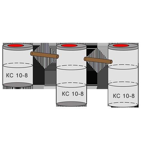 трехкамерный бетонный септик 2+3+3