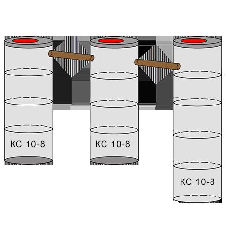 трехкамерный бетонный септик 4+4+5