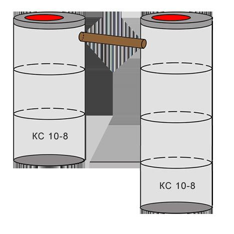 двухкамерный бетонный септик 3+4