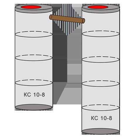 двухкамерный бетонный септик 4+5