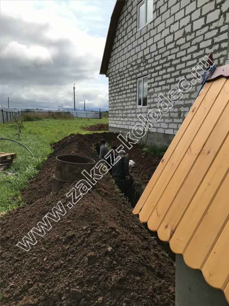 копка траншеи от колодца к дому для дачного водопровода