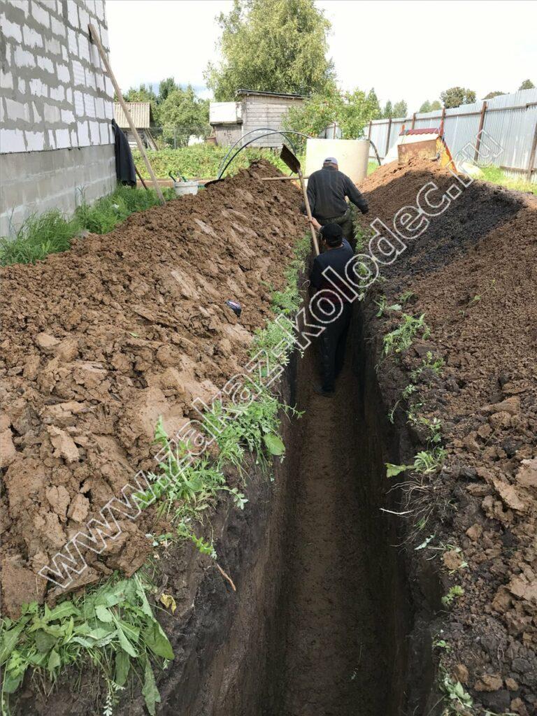 процесс копки траншеи от колодца к дому для дачного водопровода