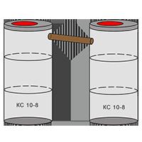 двухкамерный септик из колец - схема 3+3