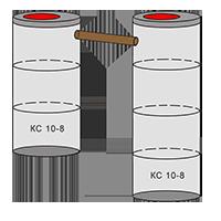 двухкамерный септик из колец - схема 3+4